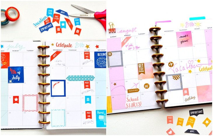 july august planner stickers