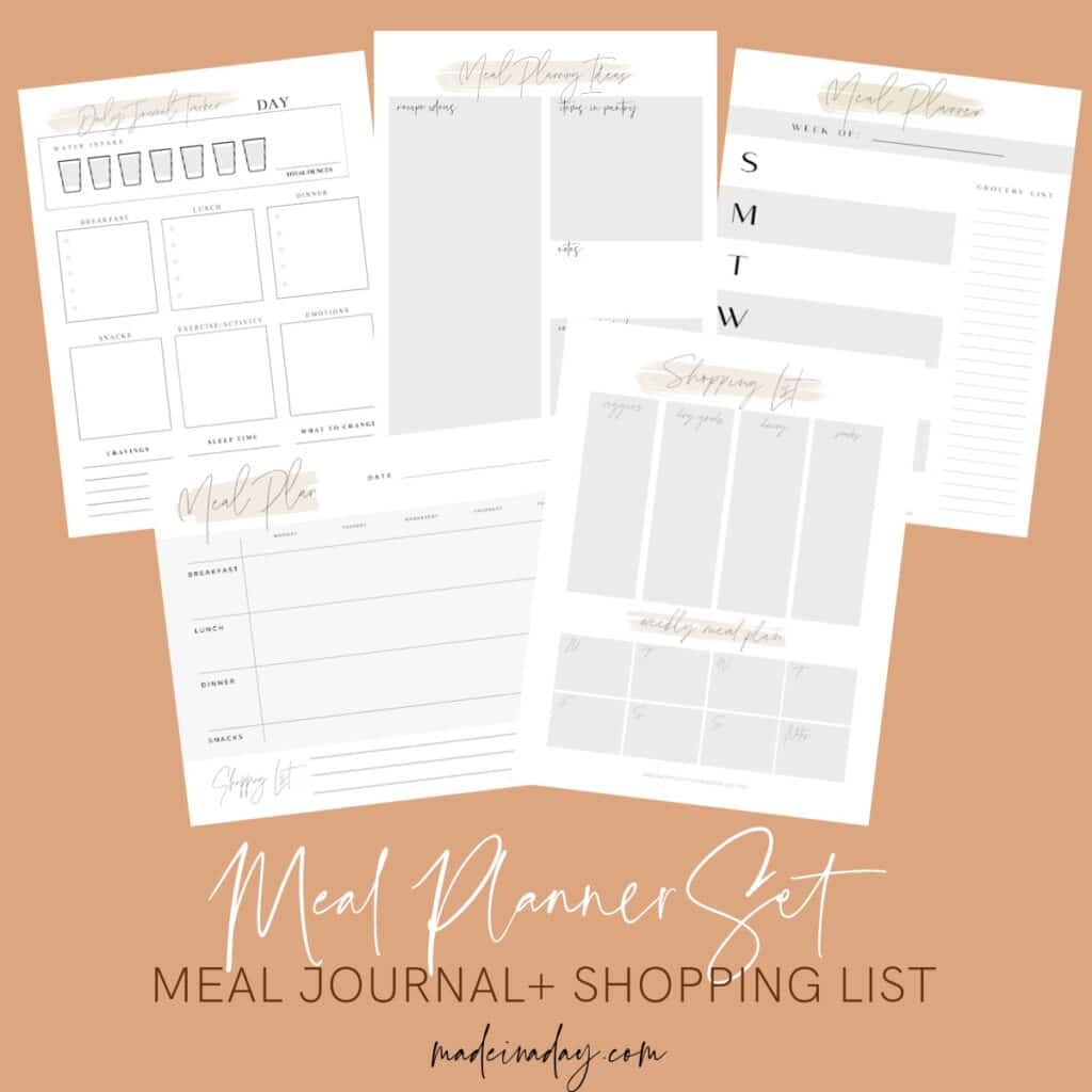 Gorgeous Printable Meal Planner Sheets with Grocery List