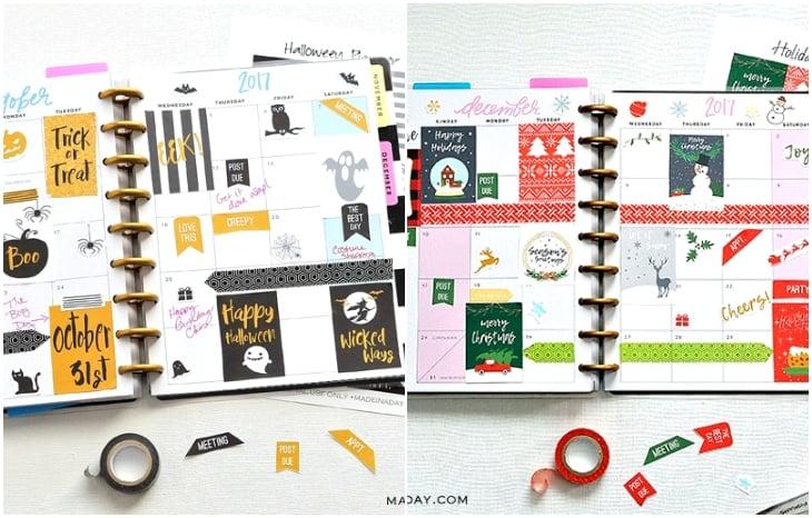 oct dec planner stickers
