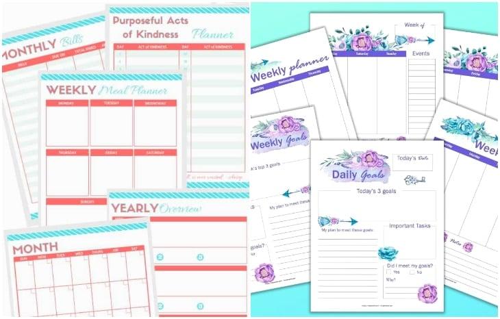 goal planner, floral planner