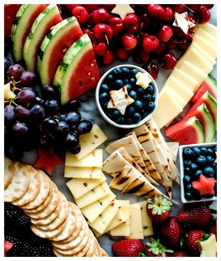 Red, White and Blue Fruit and Cheese Board