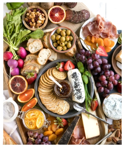 Colorful Spring Cheese Board