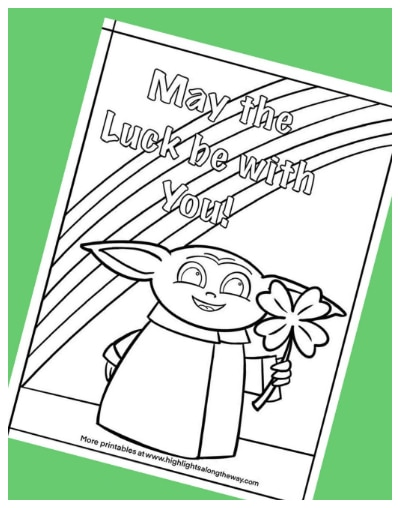 St. Patrick's Day Baby Yoda Coloring Page