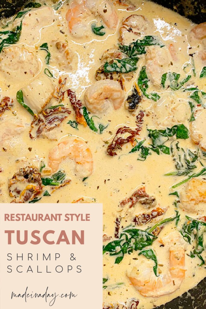 Restaurant Style Creamy Tuscan Shrimp and Scallops