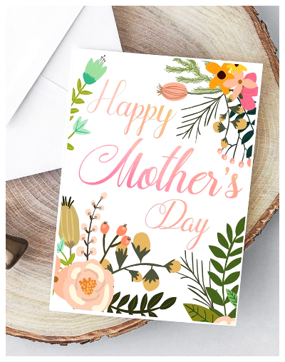 Printable Botanical Mothers Day Card