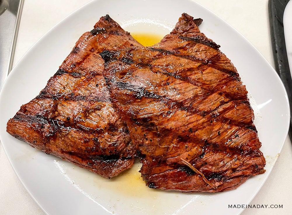 fajita flavor flank steak when cooked