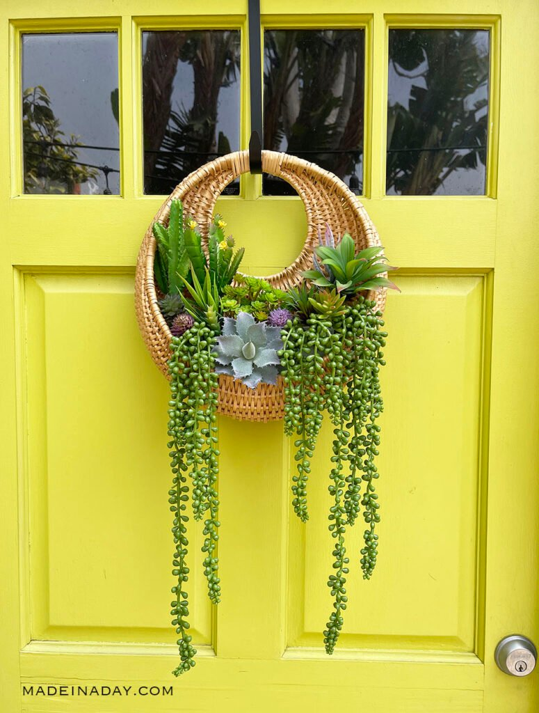 rattan hanging wall baskets