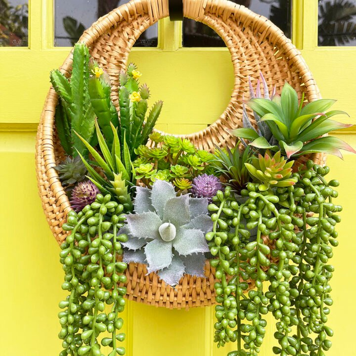 Rattan Faux Succulent Wall Hanging Planter Wreath