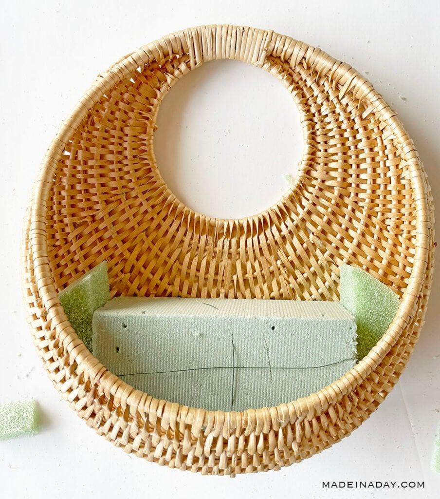 floral foam in round basket