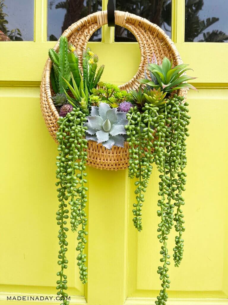 Rattan Succulent Wall Hanging Planter Wreath
