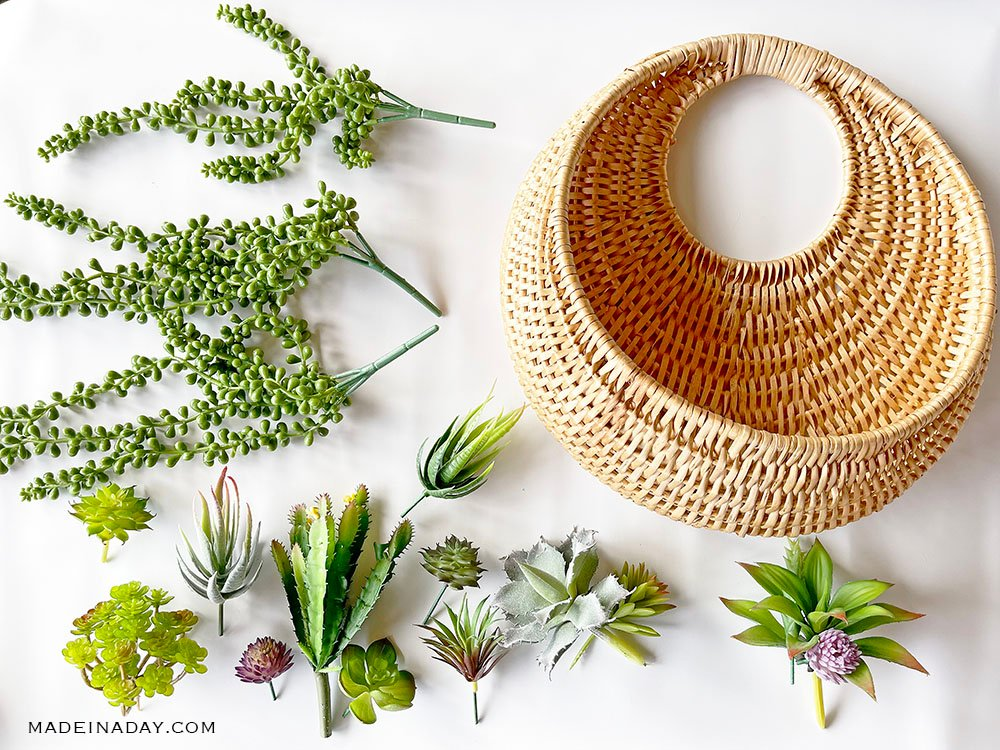 how to make a rattan basket succulent wreath