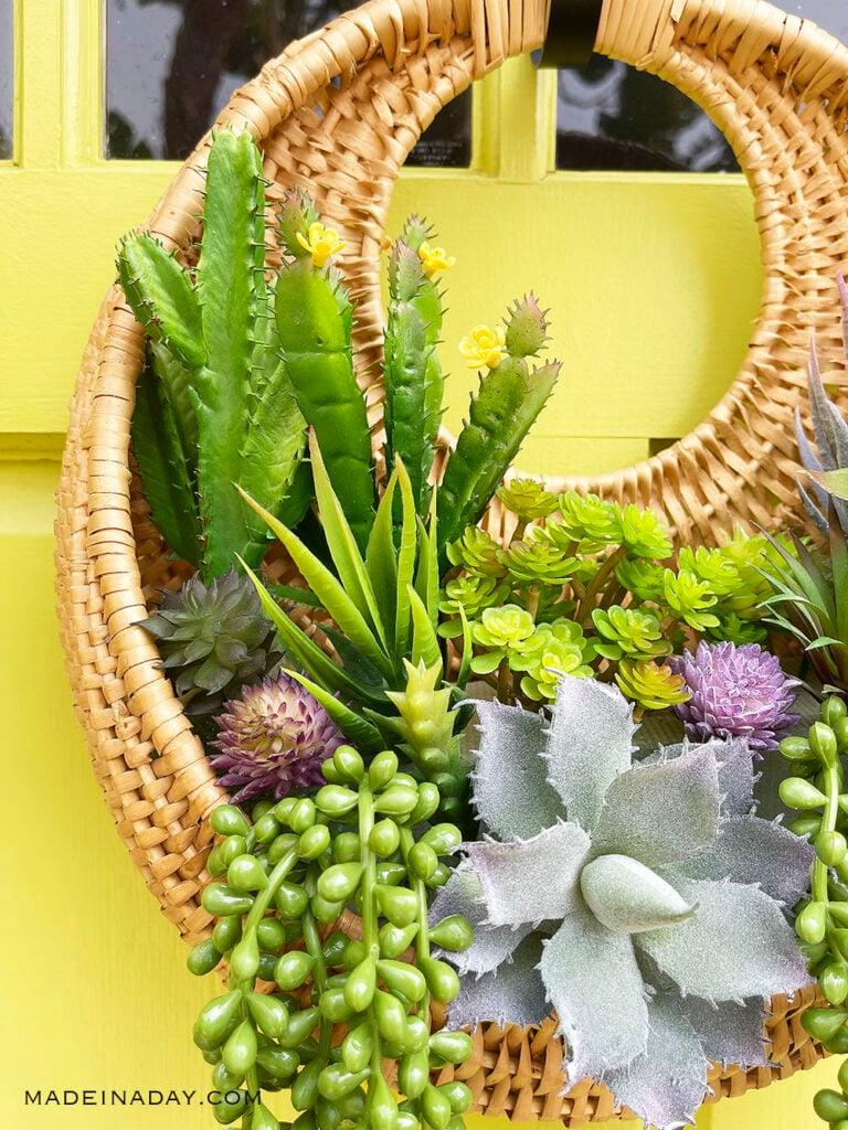 faux succulent wall arrangement