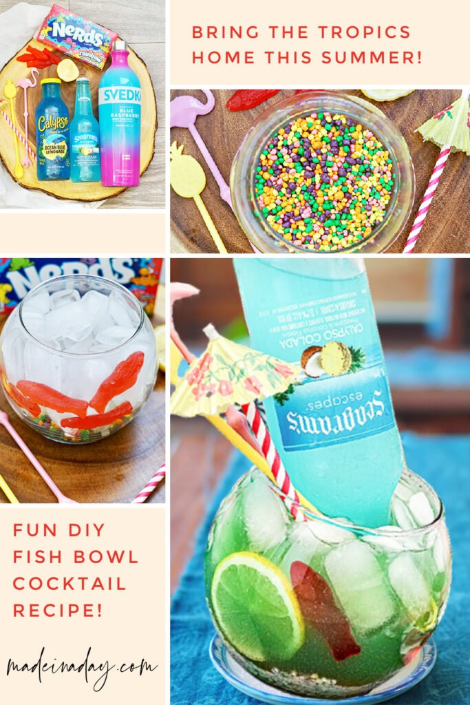 Tropical fishbowl cocktail punch