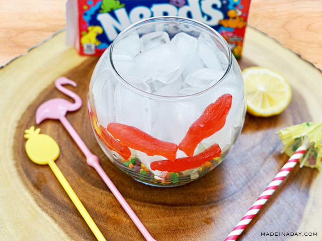 nerds candy in tropical fishbowl drink