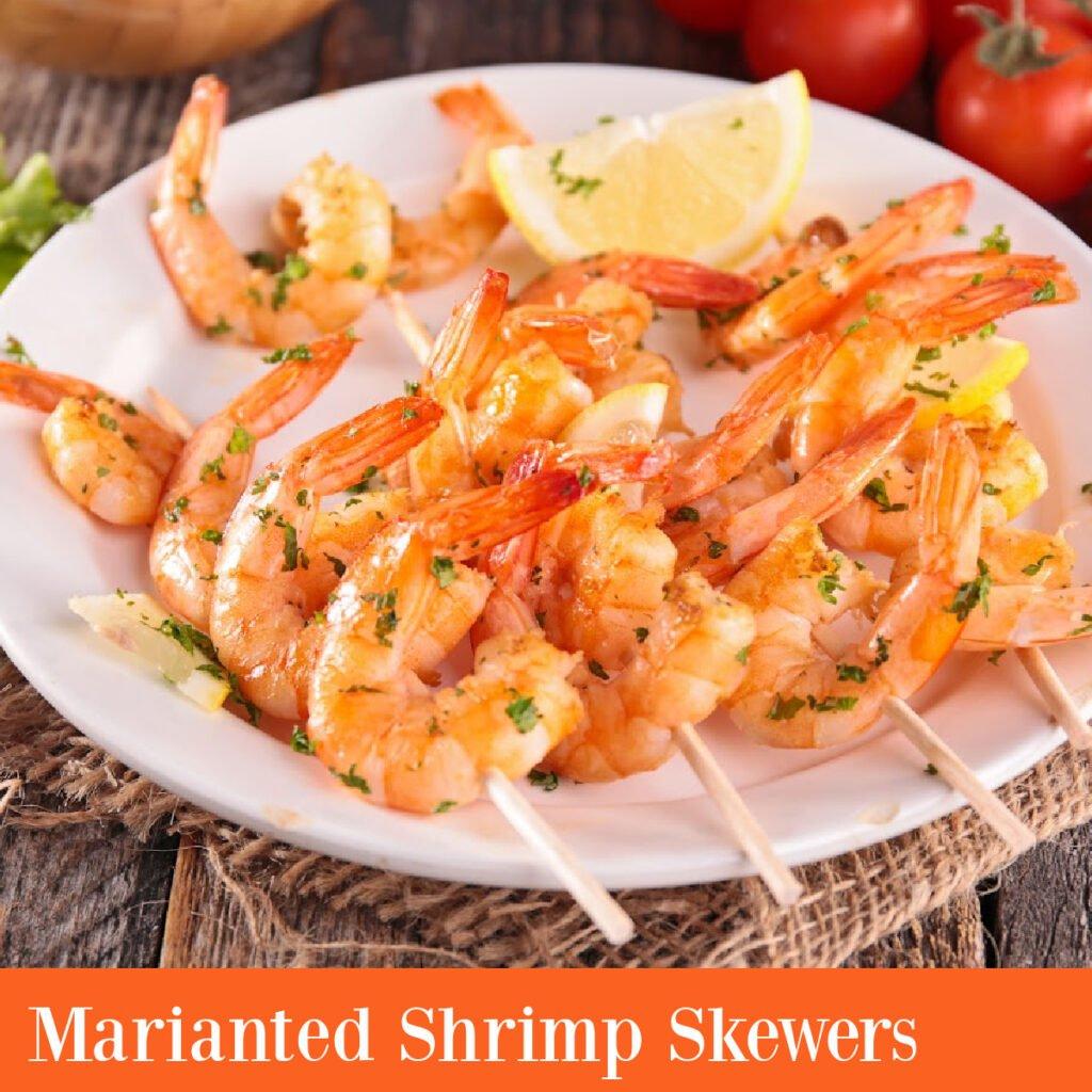 marinated skewered shrimp