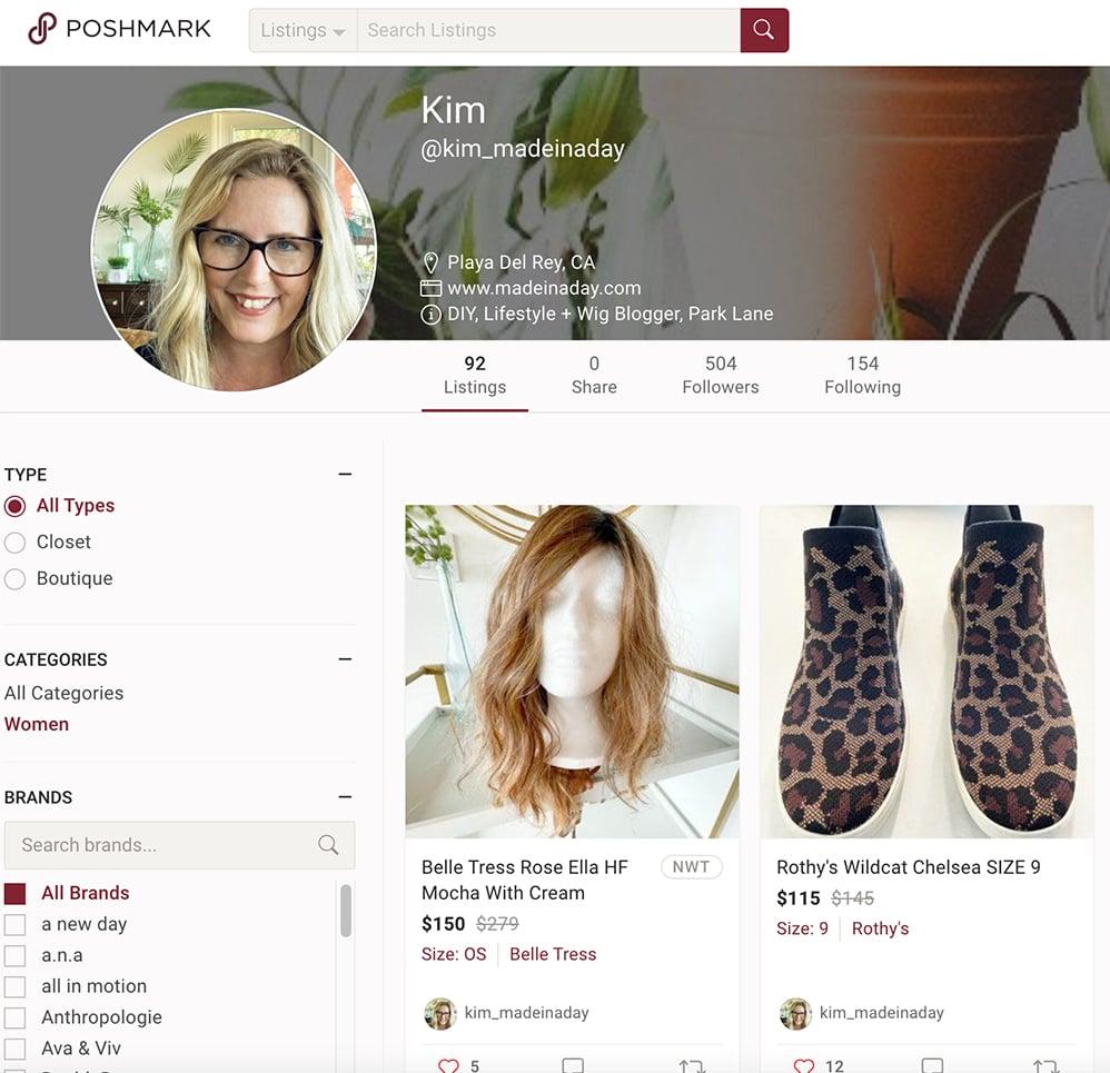 poshmark profile listing