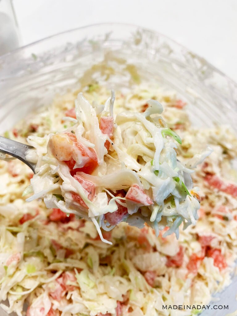 zesty slaw with pickles and tomatoes