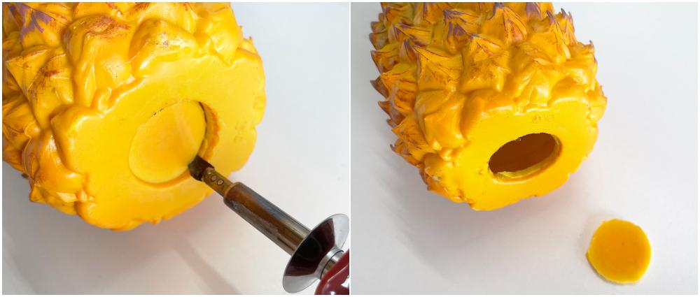 add tea lights to a pineapple