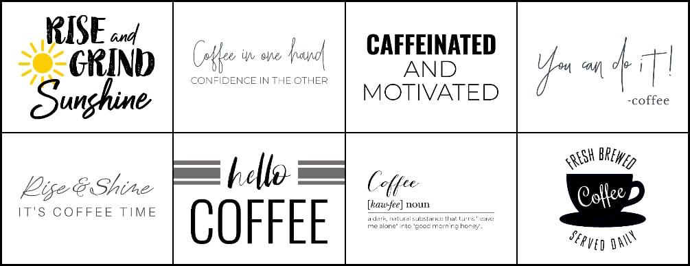 coffee bar wall art, printable coffee bar signs