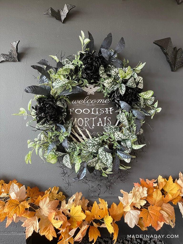 Welcome Foolish Mortals Haunted Mansion Wreath