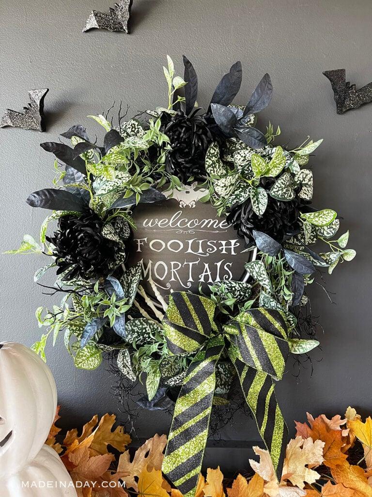 haunted mansion door wreath