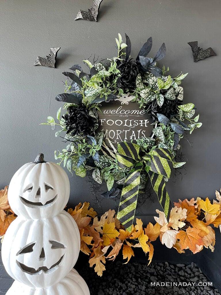 DIY Halloween welcome foolish mortals wreath