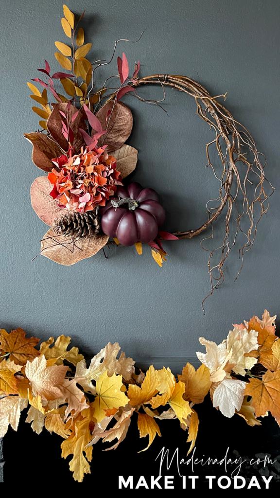 Make a fall eucalyptus pumpkin wreath