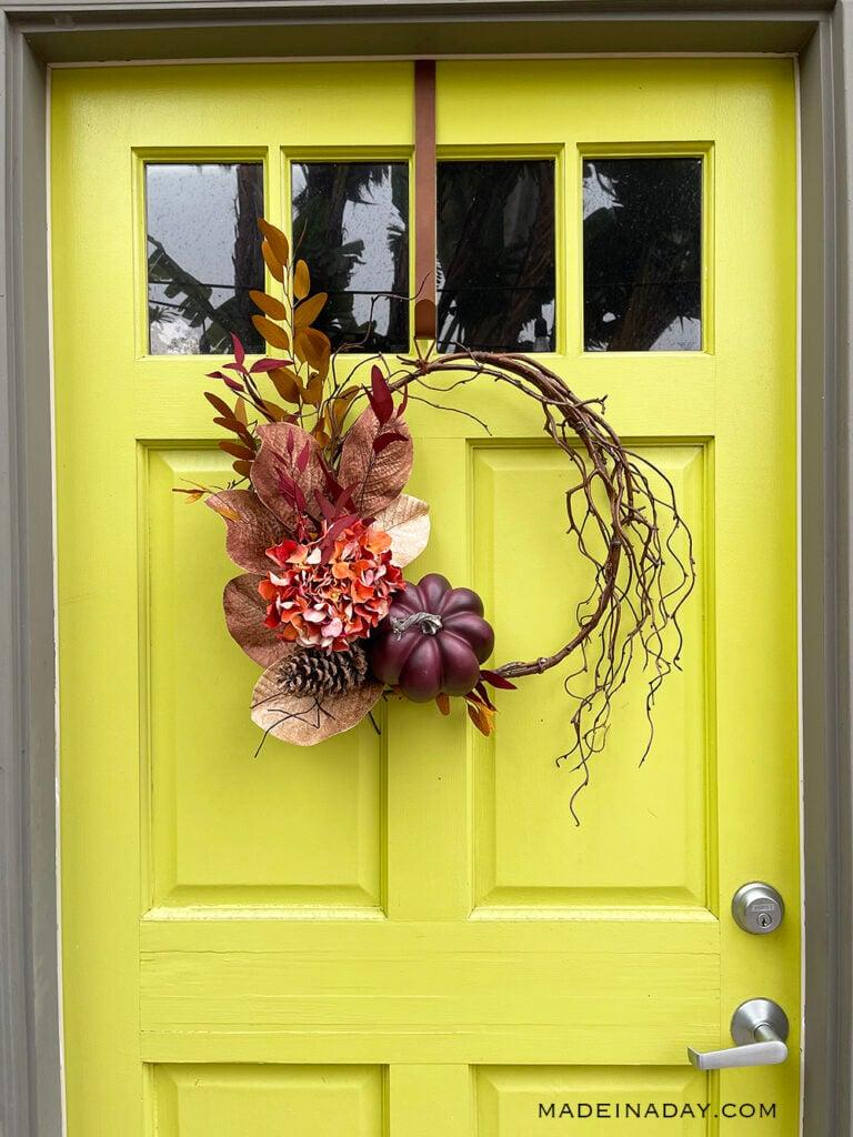 fall wispy purple pumpkin wreath