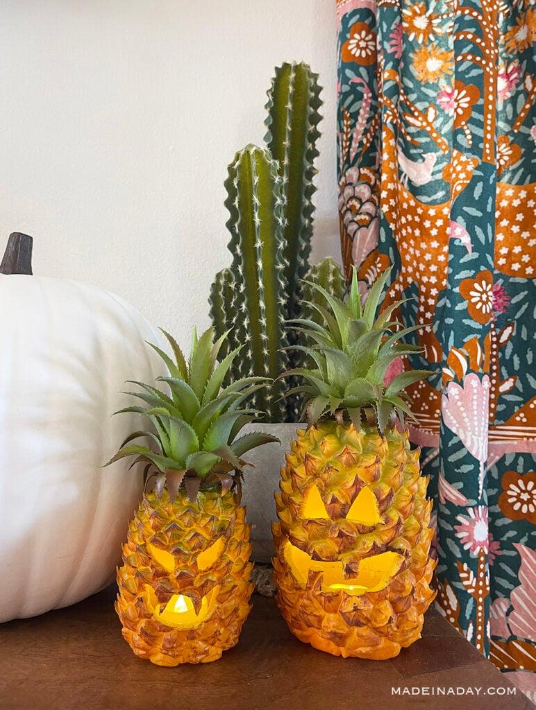 how to carve a pineapple jack o lantern