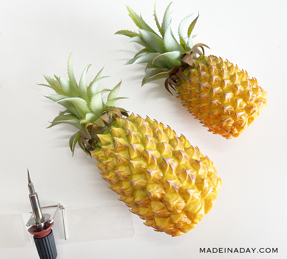 make a pineapple jack o lantern face