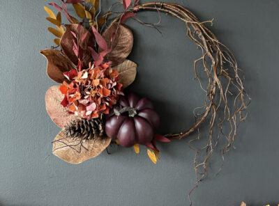 Dark Hues Fall Eucalyptus Pumpkin Wreath