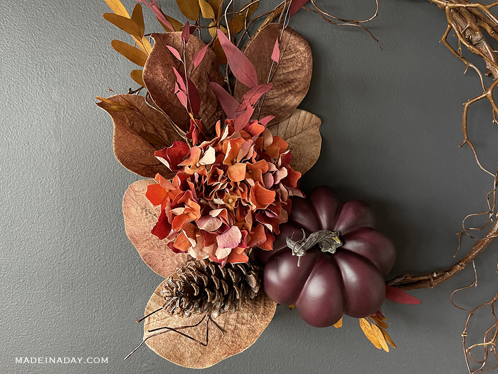 red orange fall wreath