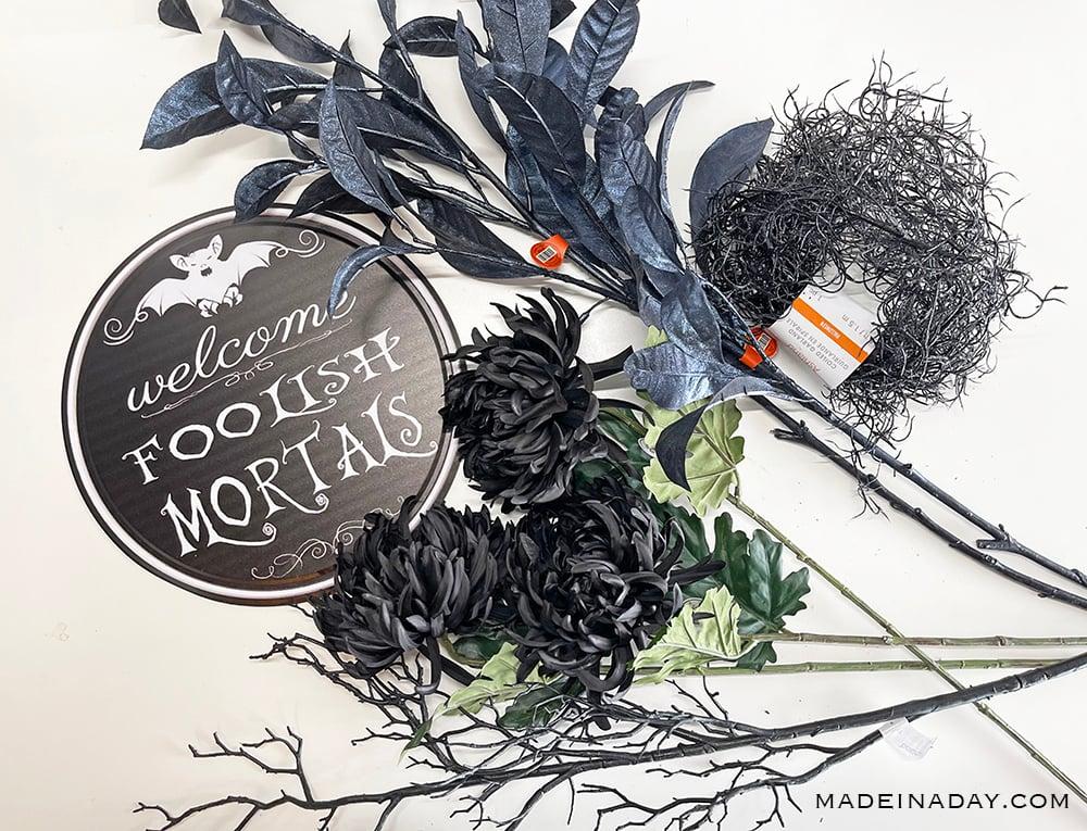 Haunted mansion wreath supplies