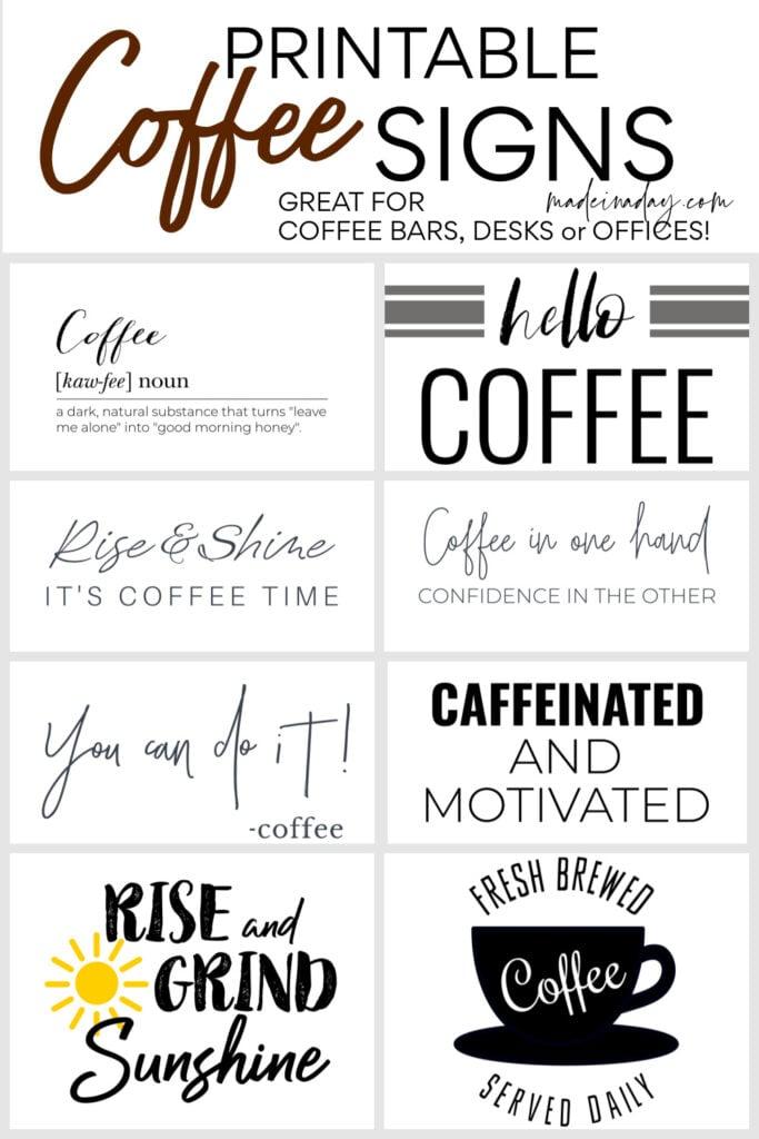 Printable Coffee Wall Art Signs, coffee bar prints