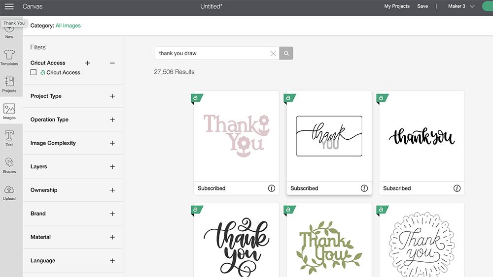 Find a pre-written word in cricut design space