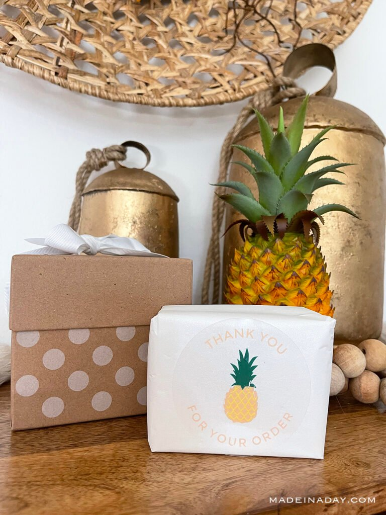 pineapple thank you stickers